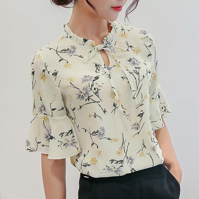 Women Blouses 2018 Chiffon Print Ruffles Sleeved Blusas Work Shirts For Womens Elegant Blouses Plus Size Female Summer Tops 014