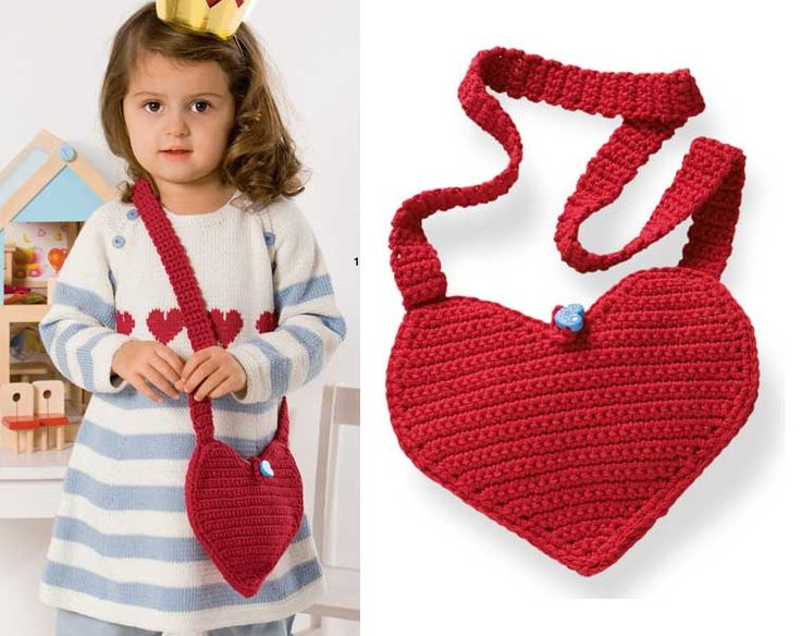 Описание вязания крючком детской сумочки-сердечка из журнала Burda. Creazion 01/2014