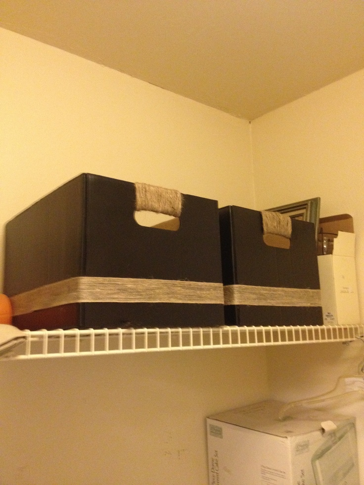 Storage bins made from bankers boxes - if needed, reinforce handles by gluing another layer of cardboard inside