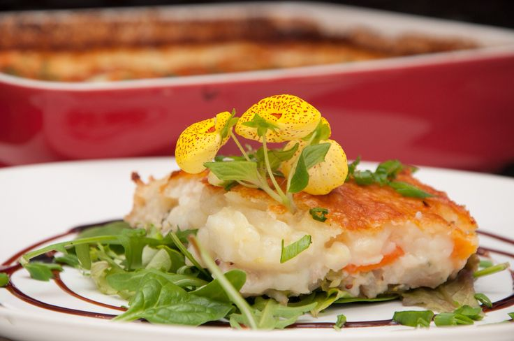 Spring pie with fish and cheese