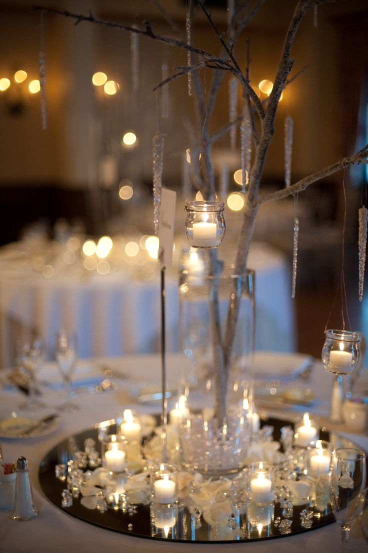 Winter centerpieces; winter wedding tablescape; winter wedding décor {Nikole + Jared 2009} {Photo Credit: Turtle Pond Photography}