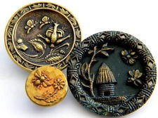 3 Antique Vintage metal buttons victorian old brass picture bug insect bee fly