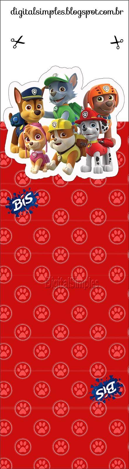 """A festa de Aniversário """"Patrulha Canina"""" já chegou no Blog, e está esperando por você! O Kit possui rótulos, caixinhas, convites, tudo gratuito,  da Patrulha Canina."""