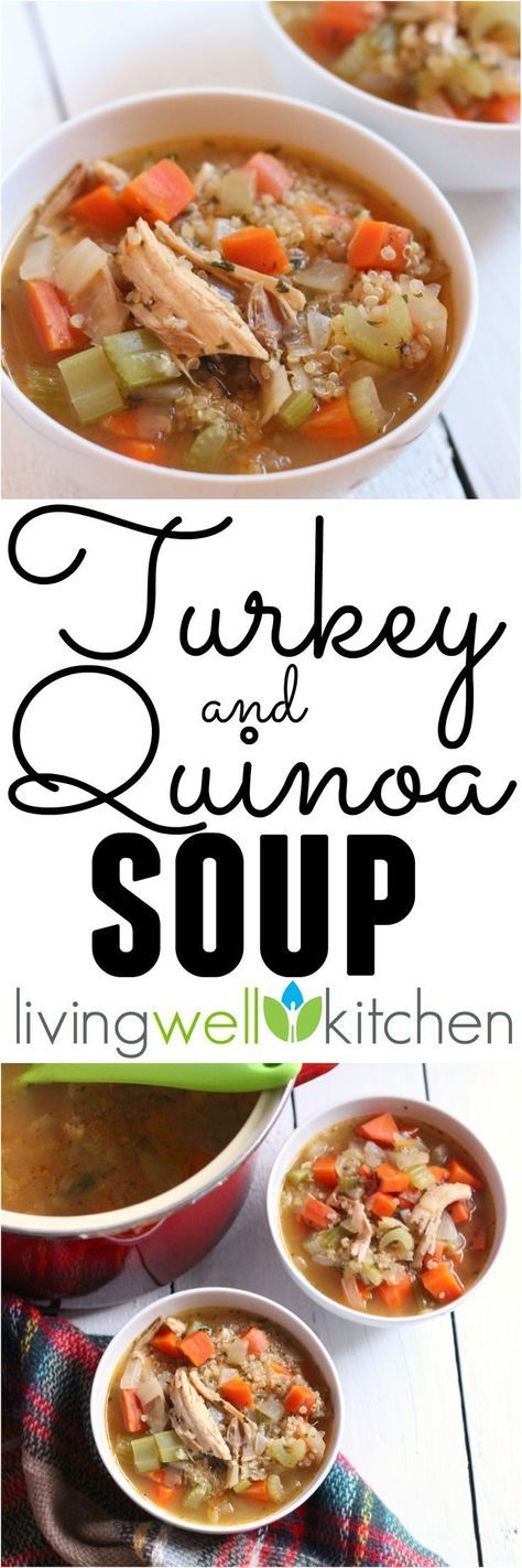 Use leftover turkey to make this nourishing and filling soup perfect for the holiday season. Turkey and Quinoa Soup from @memeinge is a healthy dinner or lunch recipe that is dairy free and can be gluten free. #ThanksgivingRecipes #thanksgivingdinner #thanksgivingideas #GlutenFree #dairyfree #soups #souprecipes #healthyfood #holidayseason