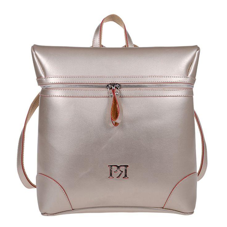 ΤΣΑΝΤΑ PIERRO 00172 ΧΡΥΣΟ  Σακίδιο πλάτης με φερμουάρ και εξωτερική πίσω τσέπη.  Ύψος35  Πλάτος32