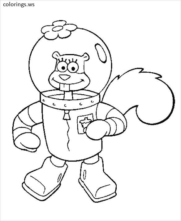 Sandy Cheeks Coloring Pages For Preschool Sandy Cheeks Coloring