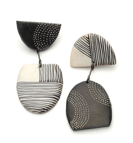 Tribal Earrings by Kathleen Dustin: Polymer Clay Earrings available at…