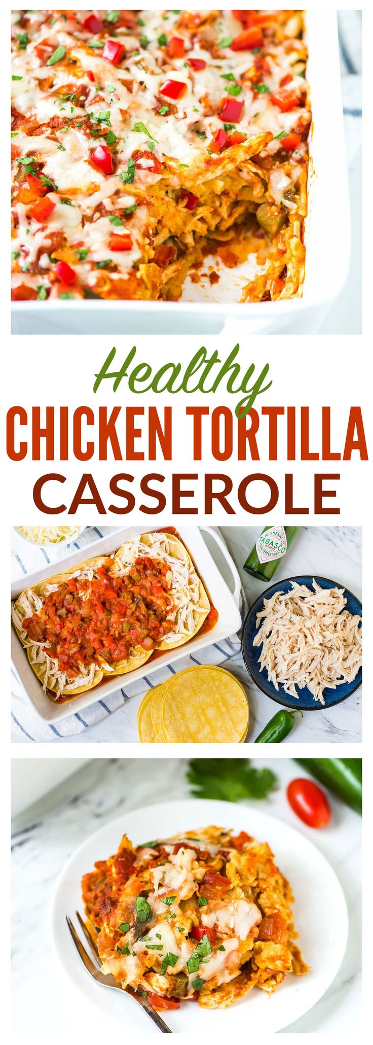 Easy Mexican Chicken Tortilla Casserole. Family favorite! Layers of cheese, chicken, and tortillas, baked in a southwest tomato sauce. Freezer-friendly and healthy! @wellplated