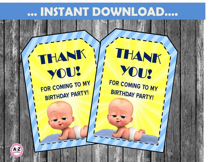 Boss Baby FAVOR TAGS,  Instant Download, Thank you tags,  personalized invite also avail for purchase, Boss Baby Movie Party, DIY Tags by AtoZparties on Etsy