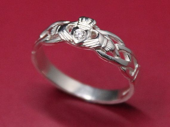 I'm not a big fan of diamonds, but this is beautiful... Diamond Claddagh ring ladies silver diamond by IrishJewelryDesign