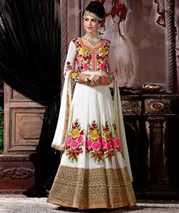 Buy Off White Pure Georgette Floor Length Anarkali Suit 75360 online at lowest…