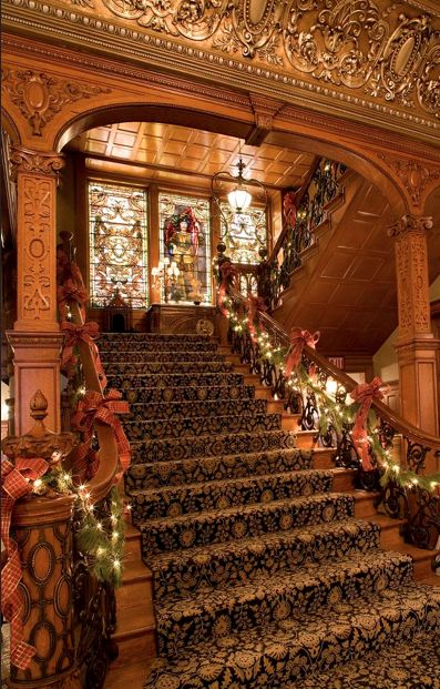 Beautiful staircase at the Whitney Restaurant, Detroit, US