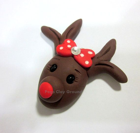 Polymer Clay rudolph Reindeer Hair Bow Topper by PegsClayGround,