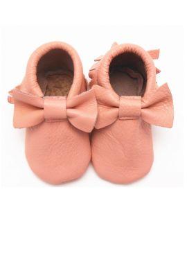Babyslofjes | Slofjes Roze Leer | Strikje | Sayoyo