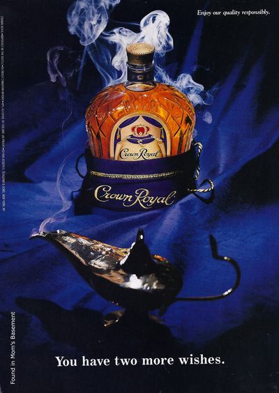 This is clever because they are using something very well known, (three wishes from a genie), to show that people wish for crown royal.  So if you are capable you can go buy it, you do not have to wish for.  I like the idea.