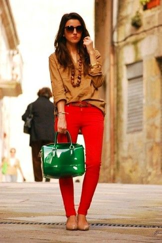 Women's Brown Dress Shirt, Red Skinny Jeans, Tan Leather Ballerina Shoes, Green Leather Satchel Bag