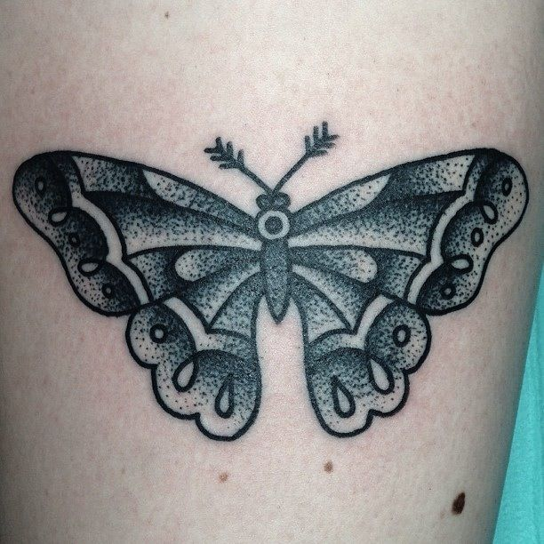 Traditional Butterfly Tattoo Flash: Traditional Tattoo. Butterfly Tattoo. Black And White