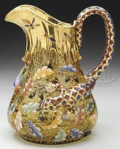 Moser Glass; Pitcher, Blown, Floral, Bird & Insects Decoration, Salamander Handle, 9 inch.