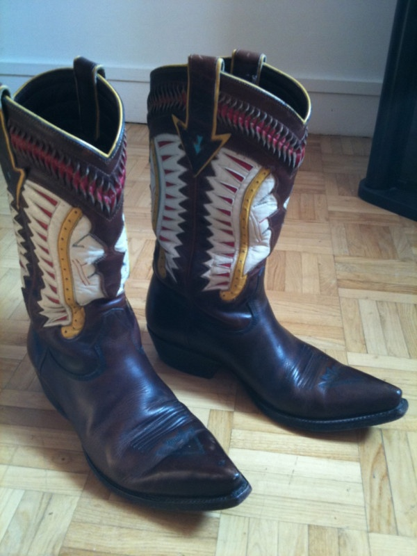 VINTAGE BOTTES WESTERN COUNTRY SANTIAG COWBOY MADE IN USA