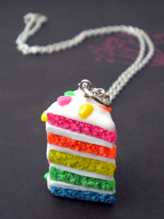 Rainbow cake necklace - ElvenStarClayworks.etsy.com