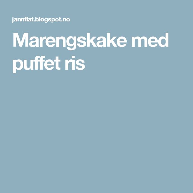 Marengskake med puffet ris