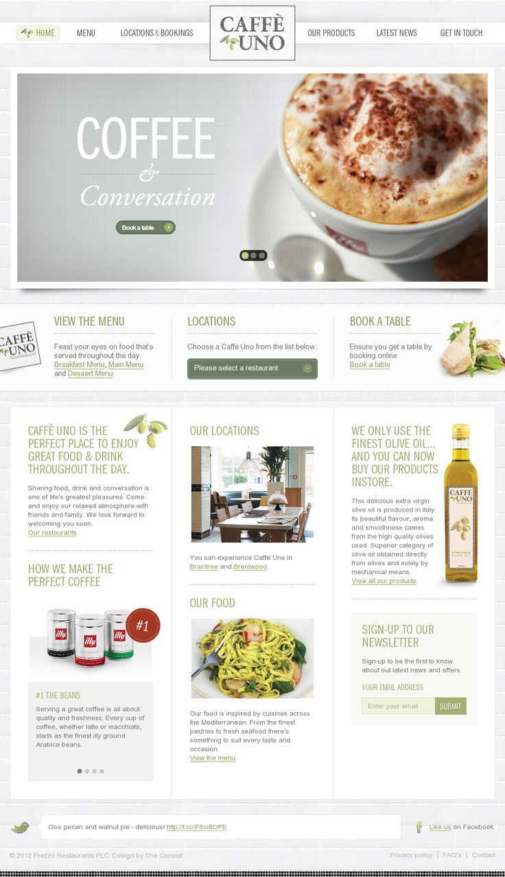 Caffe Uno #website #web #clear #webdesign #inspiration #coffee #shop