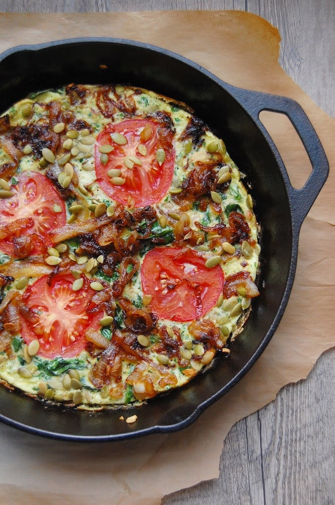 Spinach Frittata with Caramelized Onions. I love that I have everything to make this right now.