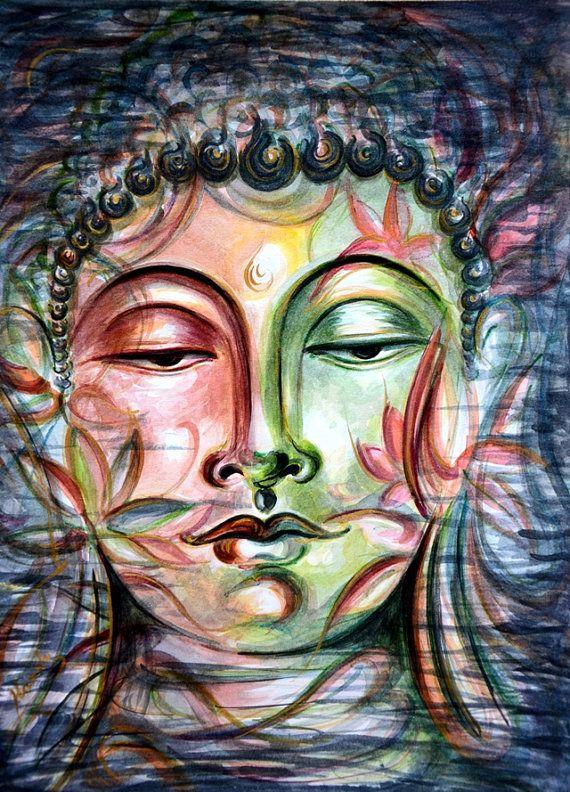 Inner Tranquility, Original, Painting, Awakened, Buddha, Inner Bliss, Infinity, Living Radiance, Lotus, Nirvana, Enlightened, by Harsh Malik