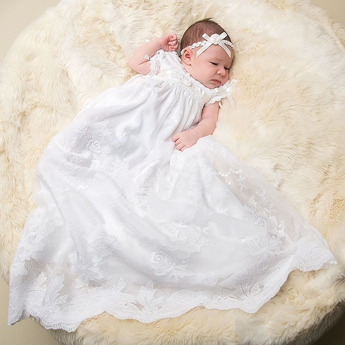 81.41$  Watch now - http://ali0k4.worldwells.pw/go.php?t=32631103875 - 2016 New Noble Baptism Gown Floor Length Christening Dress Lace Edge Baby Infant Dress White/Ivory 0-24 Month With Headband 81.41$