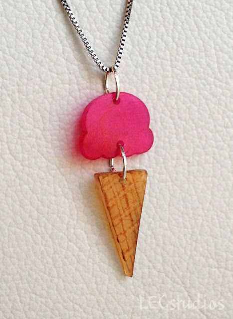 Shrinky dink @MaryJane Daret  We need to collaborate! Shrinky Dink paper is the perfect thing to use as a base for gluing on other treasures. This ice cream is cute, but I'm thinking way more glam and less literal.