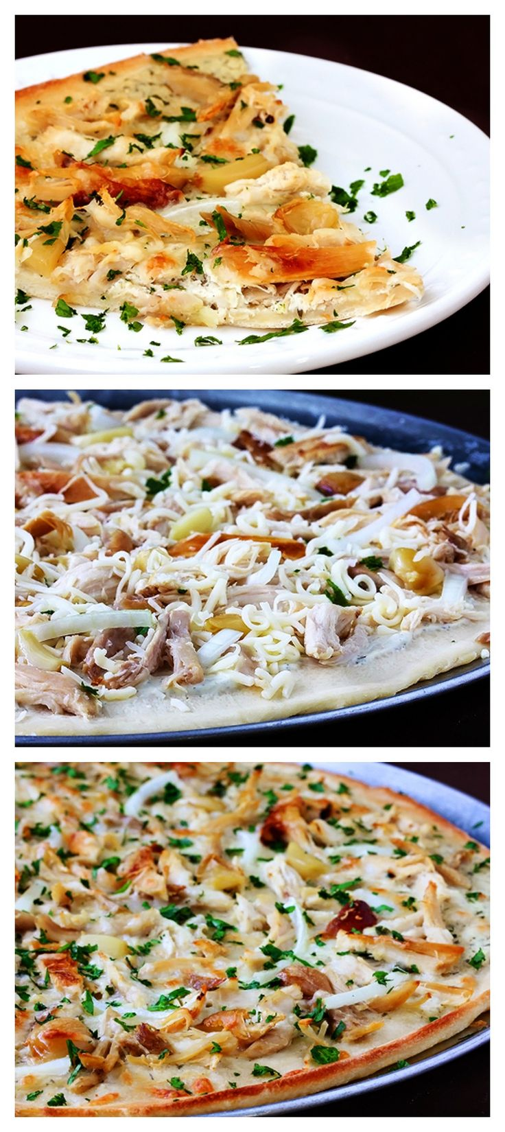Roasted Garlic Chicken Pizza -- I mean, who doesn't love roasted garlic and chicken?  Especially when this pizza is so easy to make! gimmesomeoven.com