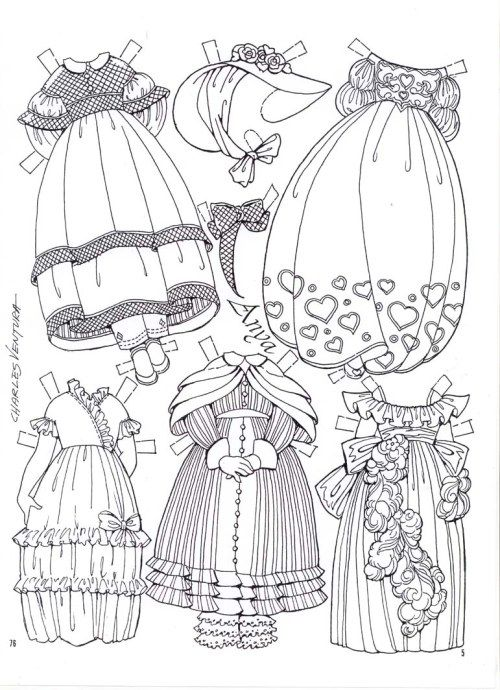 95 best Paper Dolls Coloring Art Print Pages Colouring for