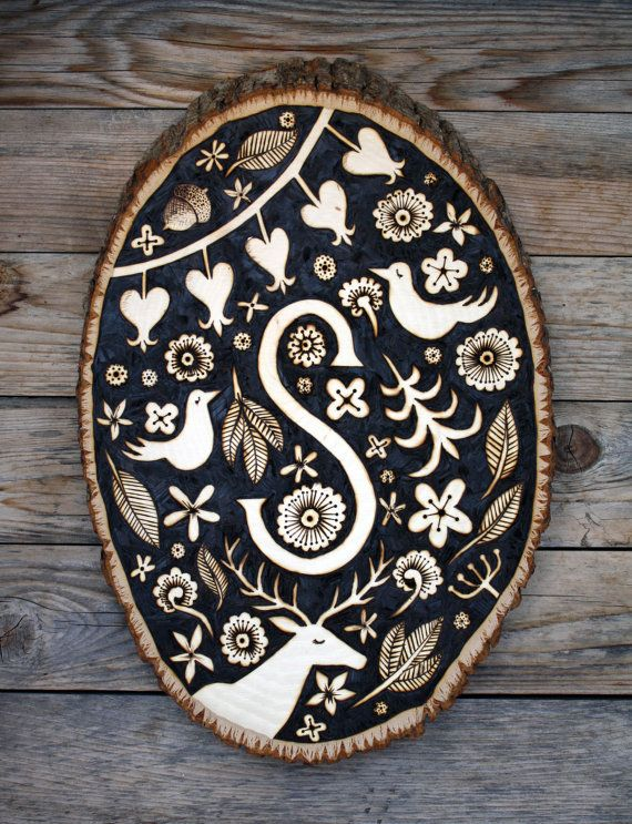 GORGEOUS Decorative Woodburned Monogram Plaque  by theFOXnFAWN on Etsy, $50.00