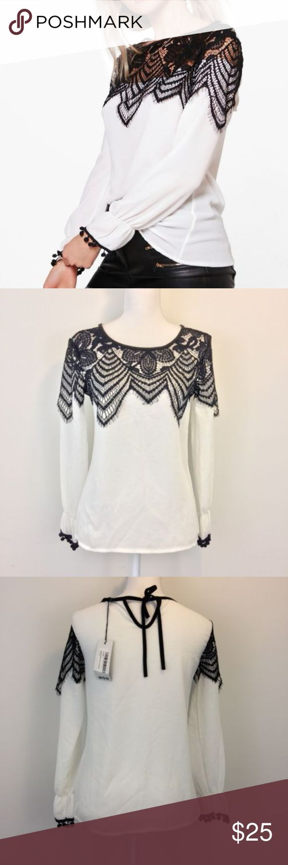 Boohoo Arianna Eyelash Lace Trim Blouse Size 6-8 Women'a Boohoo Arianna Eyelash Lace Trim Blouse Black and White  - US 6 UK 8 TAGS ARE NO LONGER ATTACHED TO THIS ITEM*****   Measurements: Boohoo Tops Blouses
