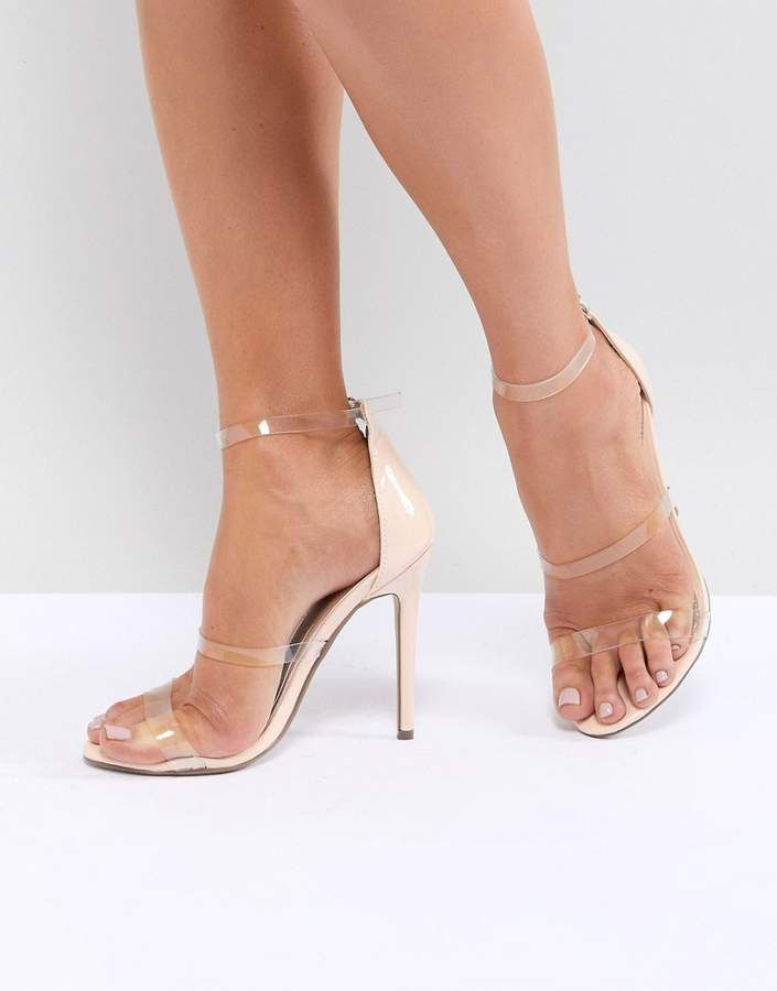 d9cfdbc842d7 Clear Three Strap Heeled Sandals  straps High toe. Missguided ...