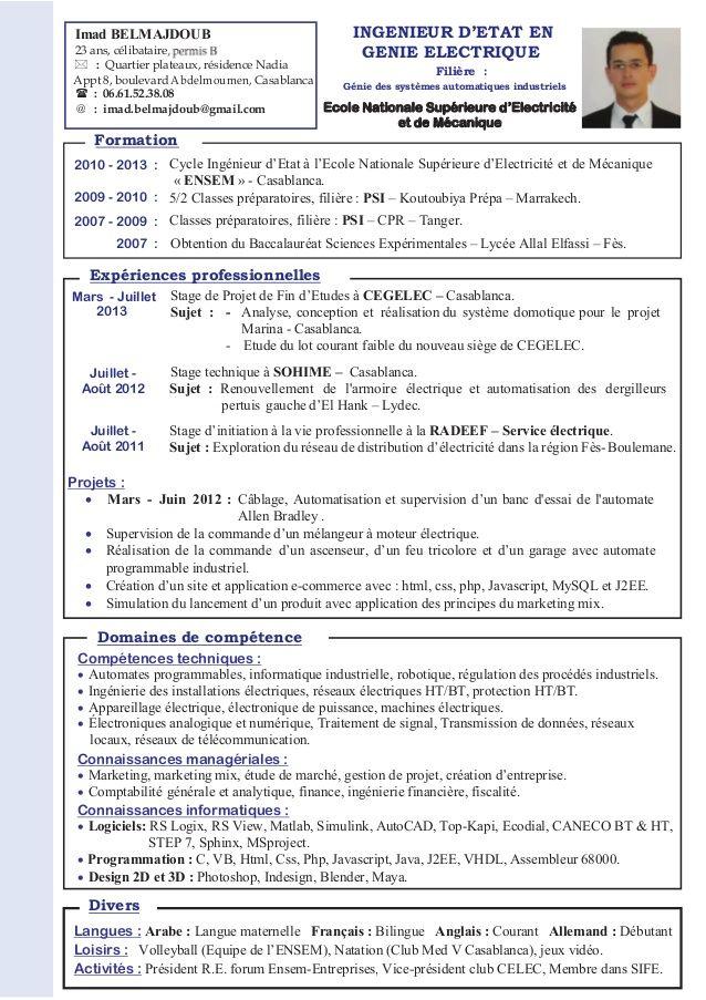 Modele Cv Ingenieur Informatique Au Maroc Cv Ingenieur Ingenieur Informatique Modele Cv