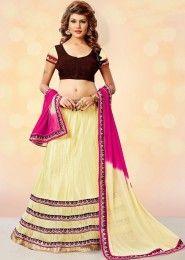 Bridal Wear Yellow Net Heavy Embroidery Work Lehenga Choli