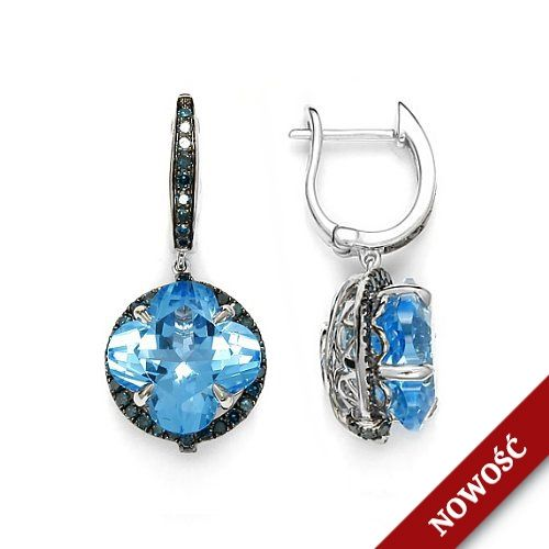 Gold earrings in white gold with topazes and blue diamonds !