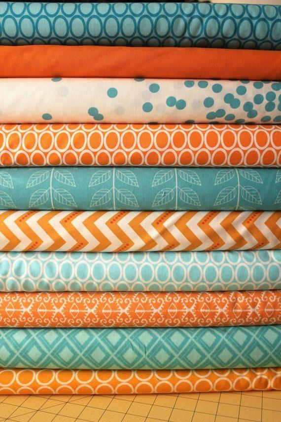 turquoise+and+orange+bedding   Fabric Ideas - Design Turquoise Aqua Orange Custom Baby ...   colors