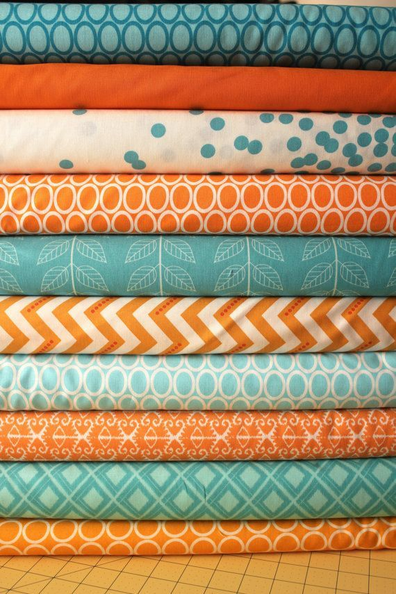 turquoise+and+orange+bedding | Fabric Ideas - Design Turquoise Aqua Orange Custom Baby ... | colors