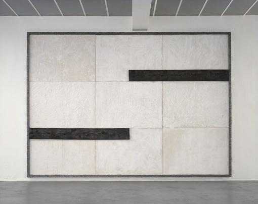 "Pier Paolo Calzolari  Untitled, 1989  burnt wood, salt, lead  10' 5-1/2"" x 14' 9-3/16"" x 3-3/16"""