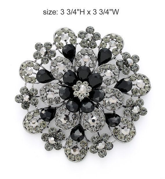 Stunning large black rhinestone brooch rhinestone jewelry embellishment, which can be used for your DIY project -glam wedding, bridal dress sash, bridesmaid dress, wedding cake, ring pillow, event decor, frame and pillow decorations, crafts, scrap booking and much more. Size: 3 3/4 inch #largebroochesfordresses