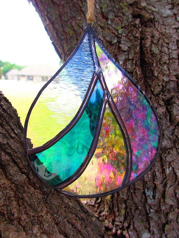 Pictures of suncatchers | Fat Raindrop Stained Glass Suncatcher, organic modern blue texture on ...