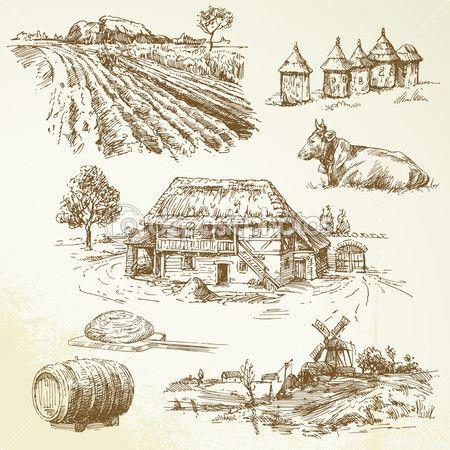 сельский пейзаж, сельское хозяйство, занимаясь сельским хозяйством — Векторная картинка #13878540