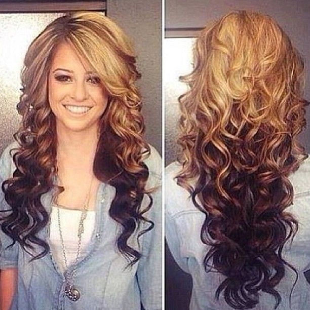 Ombre! But I want the colors reversed... dark top light ends, NO ROOTS to show!!! Plus I'd LOVE these curls!!