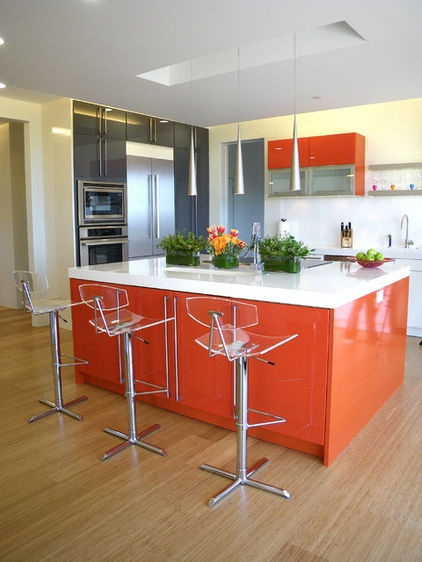 orange in the kitchen by Mark English Architects AIA Via Houzz