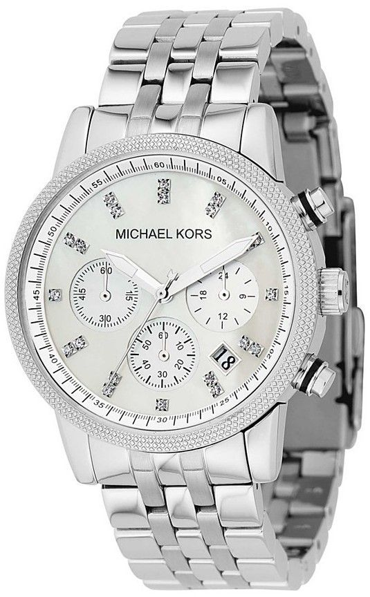 Treat her to something special with this Michael Kors womenschronograph watch. The delicate beauty of the mother of pearl dialprovides the backdrop for the Swarovski crystal markers andluminescent ha