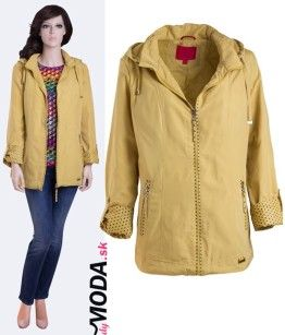 žltá dámska prechodná bunda s kapucňou- trendymoda.sk