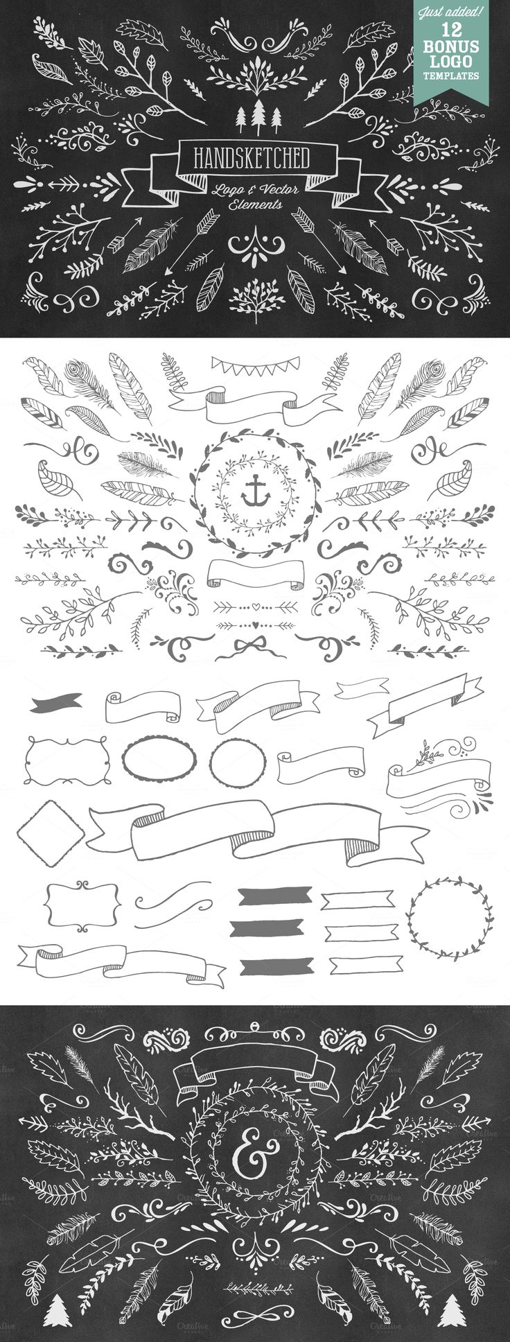 bons elementos de composição | HandSketched Vector Elements Pack by Nicky Laatz