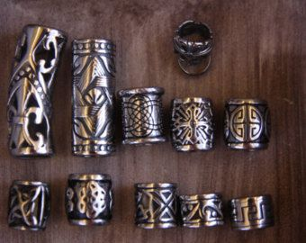 Ultimate 12 Stainless Steel Mix 8mm/9mm 5/16' Hole Dreadlock Beads Viking Beard Ring
